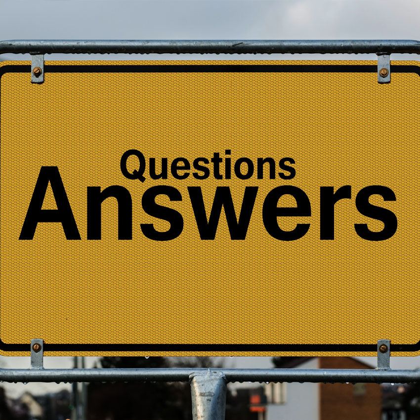 Sign saying questions and answers