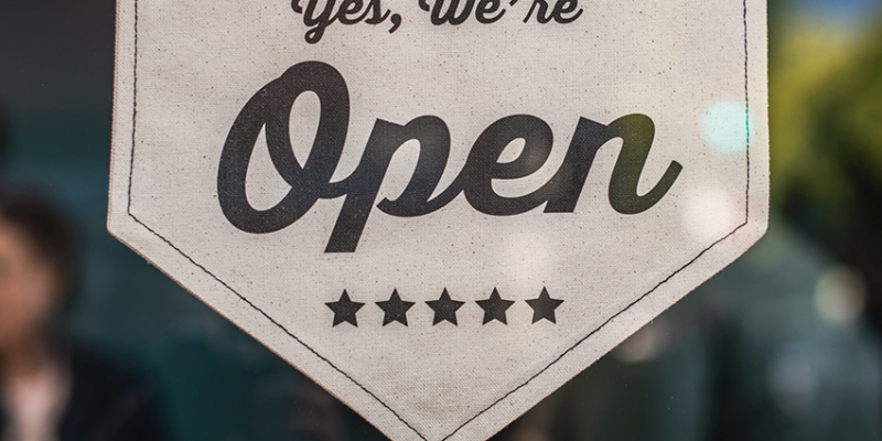 We're Open - Hanging Sign